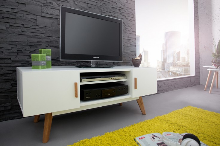 Gartenmobel Biergarten Gebraucht : Design Lowboard SCANDINAVIA MEISTERSTÜCK 120cm weiß Echt Eiche TV