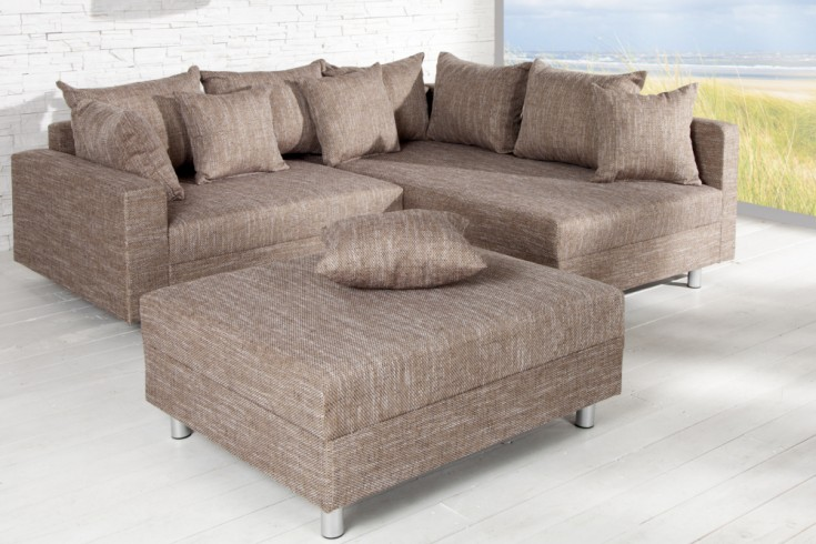 Design Ecksofa Mit Hocker Hellbraun Riess