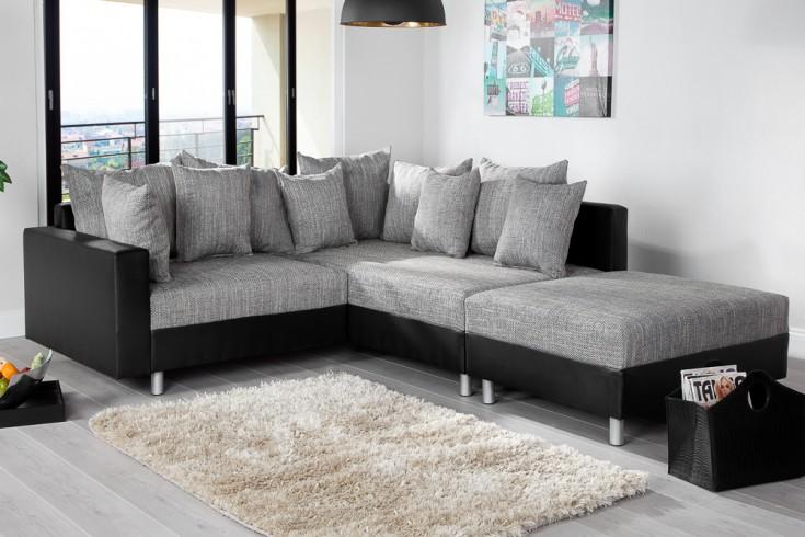 Modernes Ecksofa LOFT 220cm grau schwarz inkl. Hocker & Kissen beidseitig aufbaubar