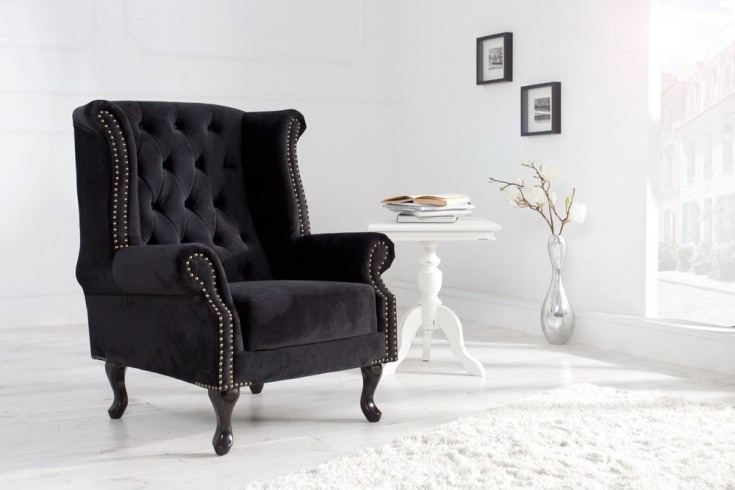 design chesterfield ohrensessel stoff royal samt schwarz. Black Bedroom Furniture Sets. Home Design Ideas