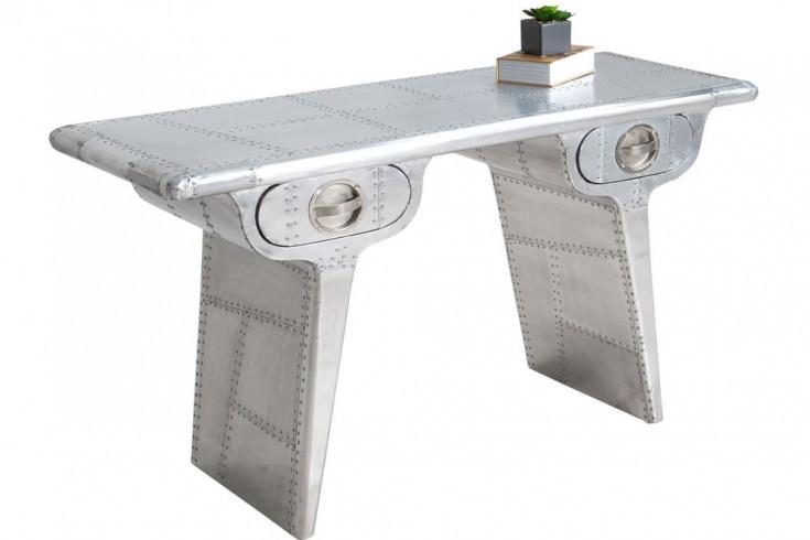 Design Schreibtisch AIR CRAFT silber 120cm Vintage Sekretär matt Konsole