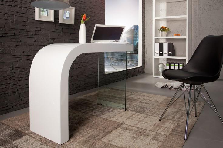 Innovativer Schreibtisch ONYX Hochglanz weiß Bürotisch 120cm