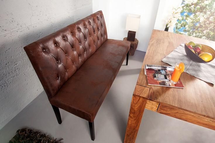 Sitzbank OXFORD hohe Rückenlehne mit Knöpfen Microfaser antik braun 165cm englischer Stil