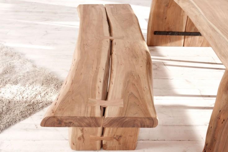 Massive Baumstamm Sitzbank BIG AMAZONAS 160cm im soliden rauen Design helle Bank mit Holzbeinen