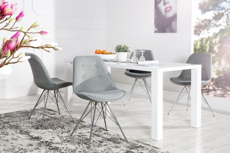 Retro Designklassiker Stuhl SCANDINAVIA MEISTERSTÜCK Strukturstoff grau mit hochwertig verchromten Stuhlgestell