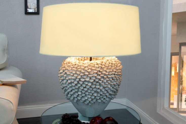 Handgearbeitete Tischlampe CIARRA 55cm weiß Kermik Korallenoptik