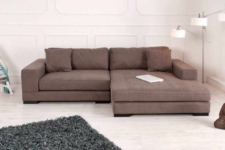 Design Ecksofa BIG CHAISE charcoal warmgrau Velour OT rechts