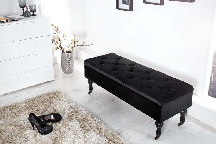 Edle Design Truhenbank BOUTIQUE Samt schwarz Sitzbank mit Stauraum 110 cm