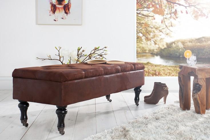 edle design truhenbank boutique antikbraun sitzbank mit stauraum 110 cm riess ambiente onlineshop. Black Bedroom Furniture Sets. Home Design Ideas