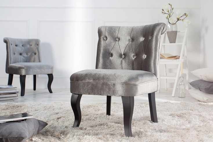 Design Sessel BOUTIQUE Samt silber mit Nackenrolle