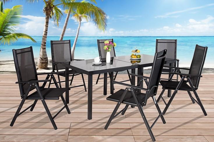 Gartenstuhl PACIFIC Hochlehner aus Alu kippbar Textilene Rückenlehne schwarz