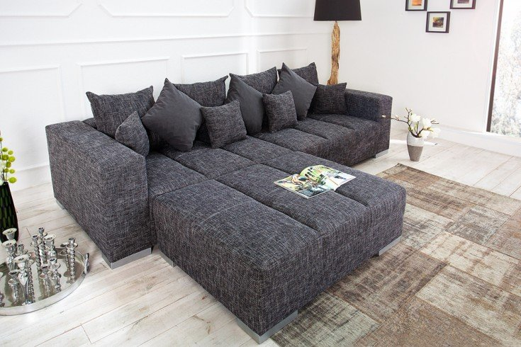 design xxl sofa big sofa island in grau charcoal strukturstoff inkl kissen riess. Black Bedroom Furniture Sets. Home Design Ideas