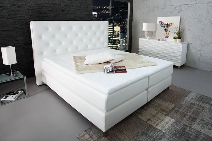 Stilvolles Boxspringbett PRESTIGE 180x200 cm weiß  mit Steppung inkl. Matratze und Topper