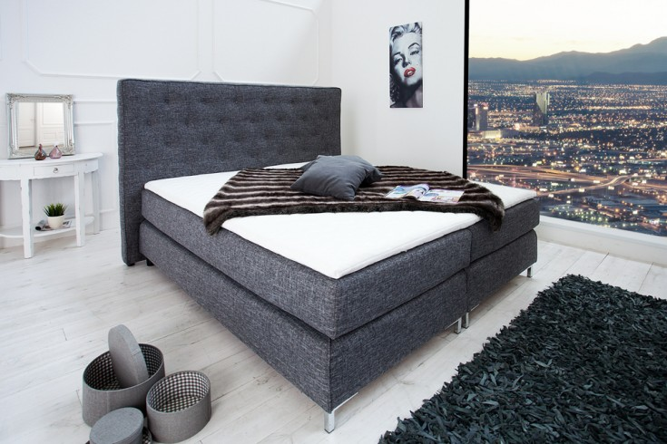 stilvolles boxspringbett prestige 180x200 cm anthrazit mit strukturstoff inkl matratze und. Black Bedroom Furniture Sets. Home Design Ideas