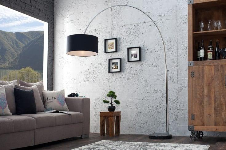 Design bogenlampe schwarz mit marmorfu riess for Hochwertige stehlampen