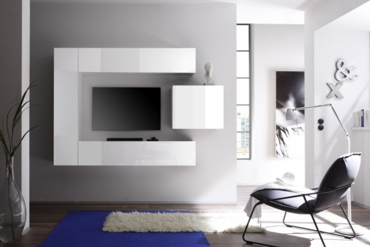 Moderne CUBE Wohnwand MILANO No.1 made in Italy Highgloss