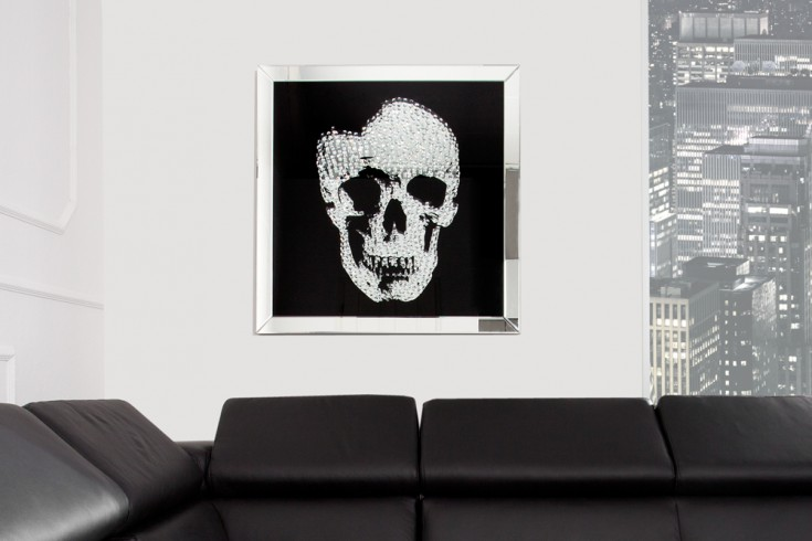 Exklusives Bild MIRROR SKULL 60x60cm Diamond Totenkopf Wanddeko