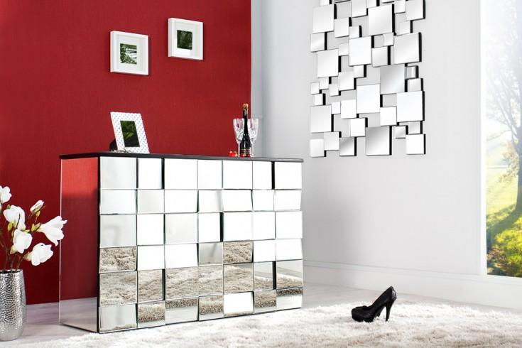 Design Bartresen MOSAIK 130cm Glas Konsole 42 Facetten Spiegel 3D-Optik