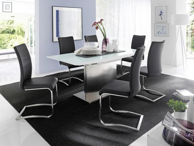 Premium Freischwinger Stuhl ARCO schwarz mit gebürstetem Edelstahlrahmen und bestem Sitzkomfort