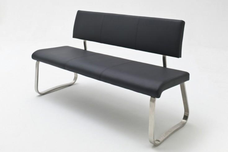 Premium Sitzbank ARCO Original MCA schwarz mit gebürstetem Edelstahlrahmen und bestem Sitzkomfort