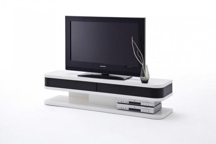 Design TV-Lowboard JUNIOR ORIGINAL MCA weiß mit schwarzen Schubladen 150cm