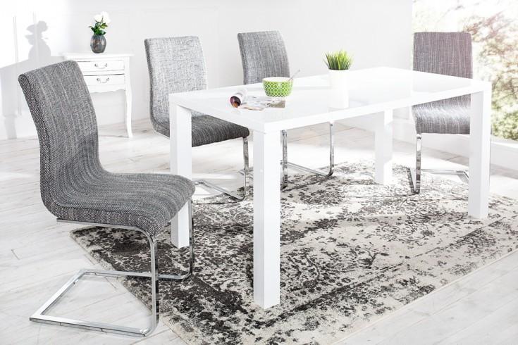 Eleganter Design Freischwinger HAMPTON Stuhl Strukturstoff hellgrau