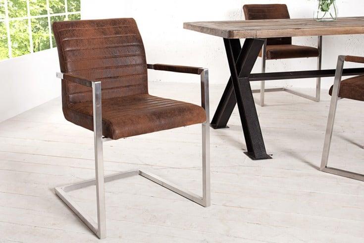 Freischwinger Stuhl EMPIRE Vintage Coffee mit gepolsterten Armlehnen und Edelstahlgestell