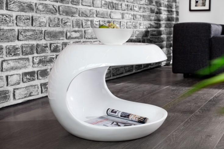 Moderner Beistelltisch SPIN 45 cm weiß Couchtisch Tisch Hochglanz Aufbewahrungsfach