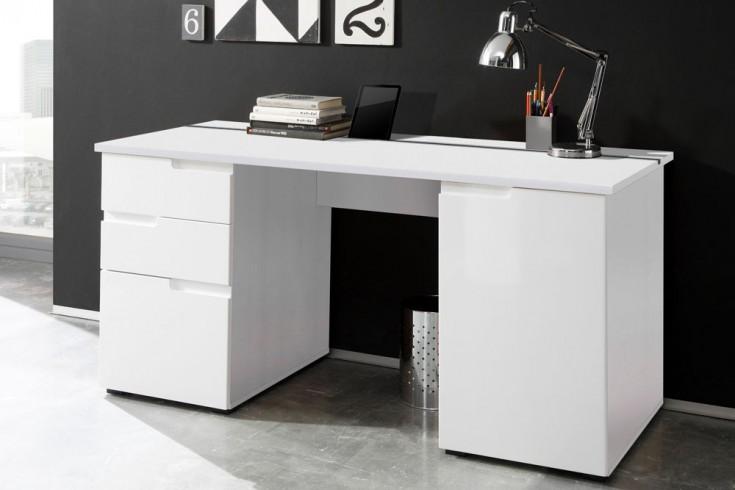 Design Schreibtisch CLUB 160cm weiß High Gloss