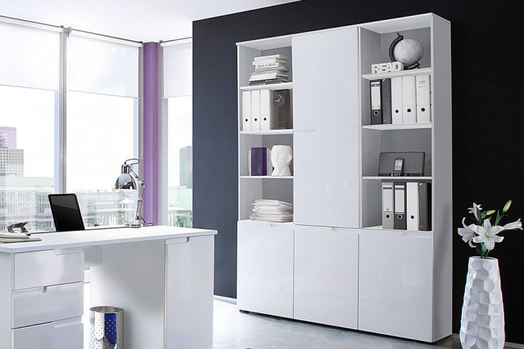 Design Regal CLUB 215cm weiß High Gloss Regalelement