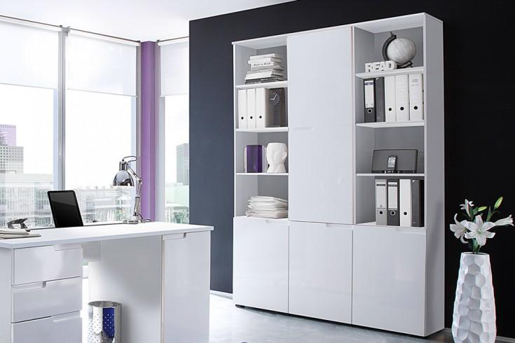 Design Regal CLUB 215cm weiß Hochglanz Regalelement