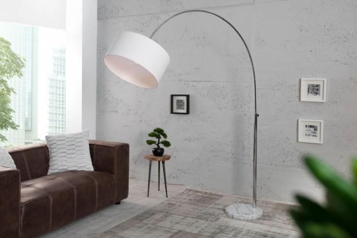 Design Bogenleuchte LOUNGE DEAL Classic mit weißem Natur Leinen Schirm ausziehbar