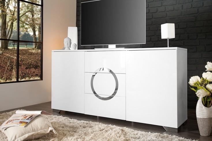 Exklusives Sideboard ZEN Hochglanz weiß 160cm mit Edelstahl Applikationen