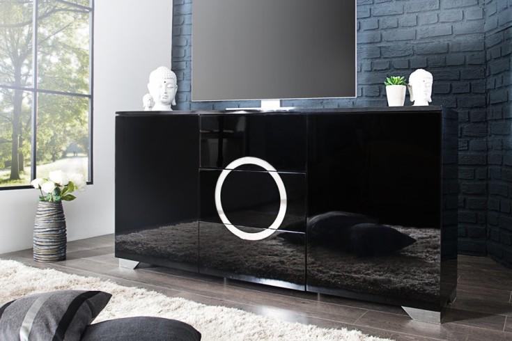 exklusives sideboard zen hochglanz schwarz 160cm mit edelstahl applikationen riess ambiente. Black Bedroom Furniture Sets. Home Design Ideas