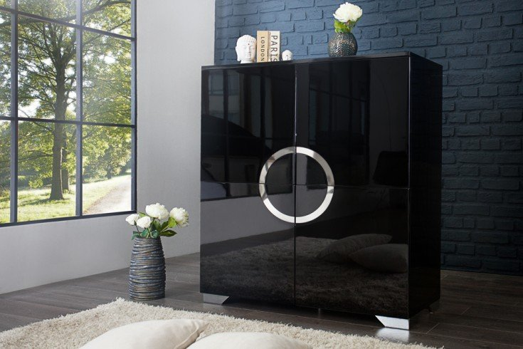 highboard zen hochglanz schwarz riess. Black Bedroom Furniture Sets. Home Design Ideas