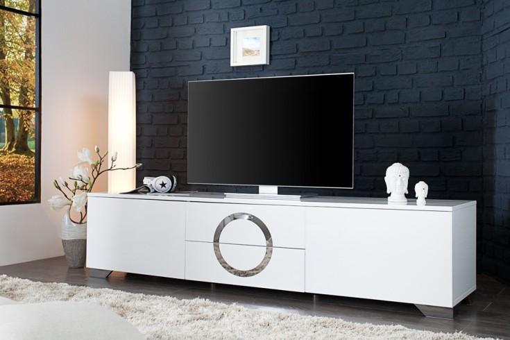 Exklusives TV-Lowboard ZEN Hochglanz weiß 180cm mit Edelstahl Applikationen