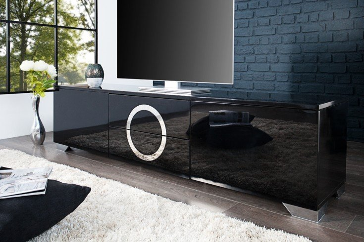 exklusives tv lowboard zen hochglanz schwarz 180cm mit edelstahl applikationen riess ambiente. Black Bedroom Furniture Sets. Home Design Ideas