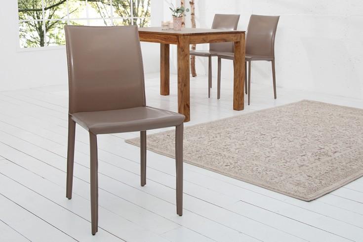 exklusiver design stuhl milano echt leder grau greige riess. Black Bedroom Furniture Sets. Home Design Ideas