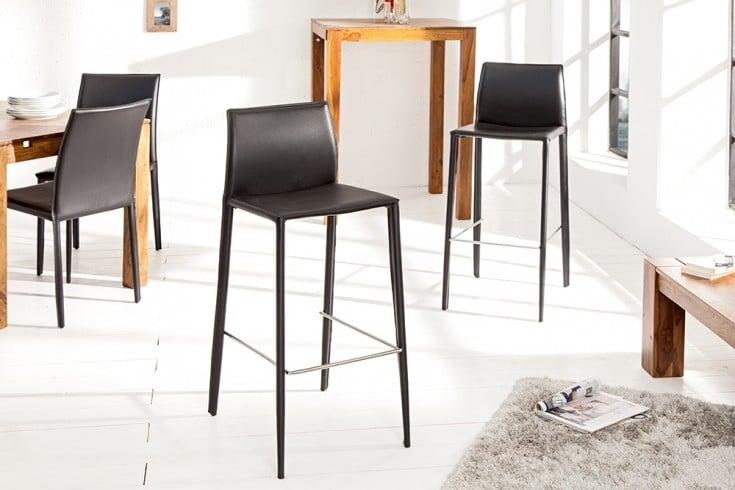 Exklusiver Design Barstuhl MILANO ECHT LEDER schwarz