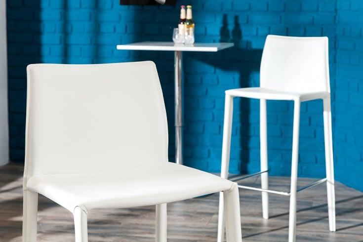Exklusiver design barstuhl milano echt leder wei riess for Design stuhl milano echtleder