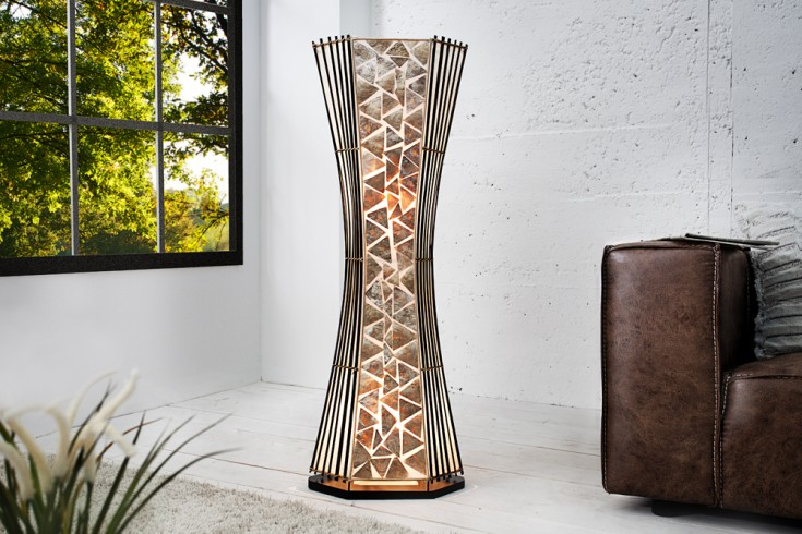 Design Stehlampe BATU 100cm echtes Perlmutt indonesisches handgearbeitetes Unikat