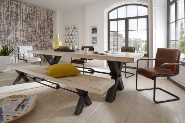 exklusiver esstisch kansas 240 cm massive eiche wei gek lkt. Black Bedroom Furniture Sets. Home Design Ideas