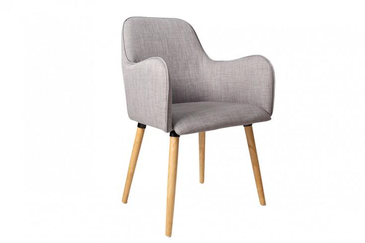 Exklusiver Design Armlehnstuhl OSLO grau mit Eiche Füßen