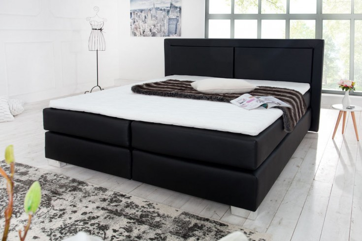 modernes boxspringbett queens 180x200 cm schwarz inkl matratze und topper riess ambiente. Black Bedroom Furniture Sets. Home Design Ideas