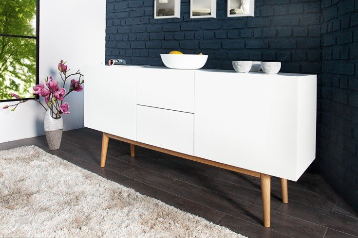design sideboard lisboa wei 150cm mit eiche f en riess ambiente onlineshop. Black Bedroom Furniture Sets. Home Design Ideas
