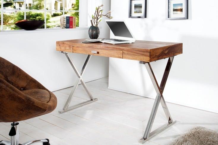 Design Schreibtisch ELEMENTS 120cm Sheesham Stone Finish Bürotisch