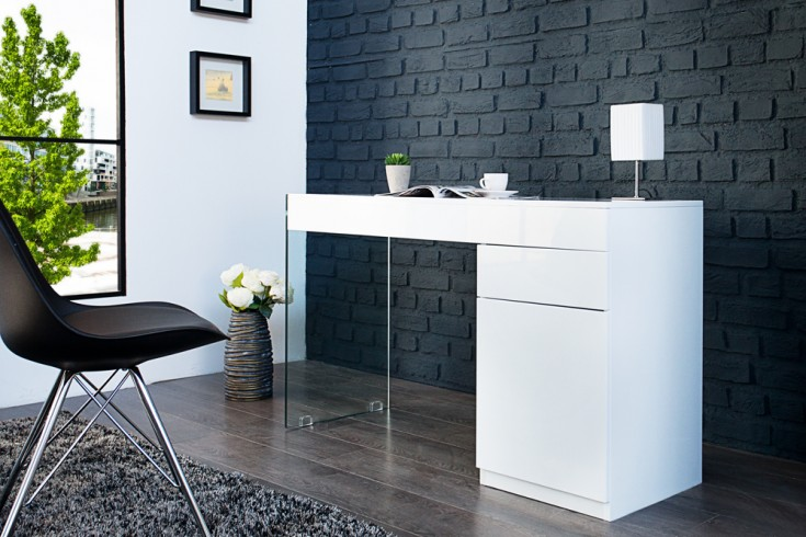 Moderner Schreibtisch FLOATING weiß hochglanz Glas Komposition