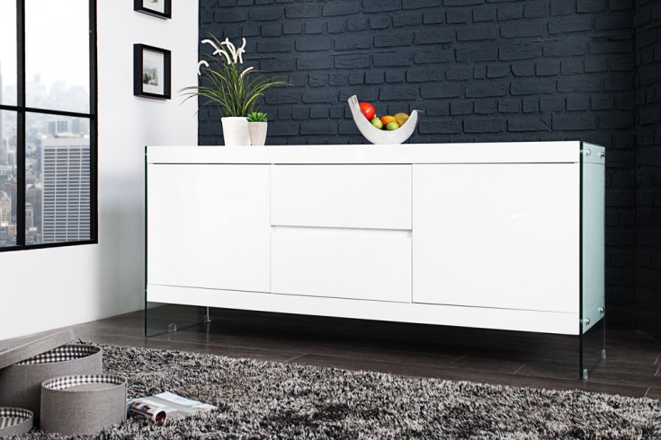 Design Sideboard FLOATING weiß 185x45x80 cm hochglanz Glas Komposition