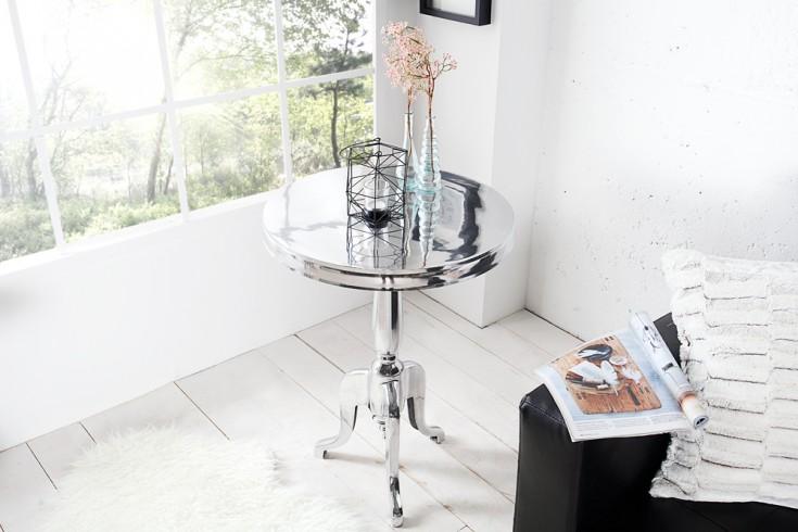 Edler Design Beistelltisch SAVOY 55cm poliert silberfarbig