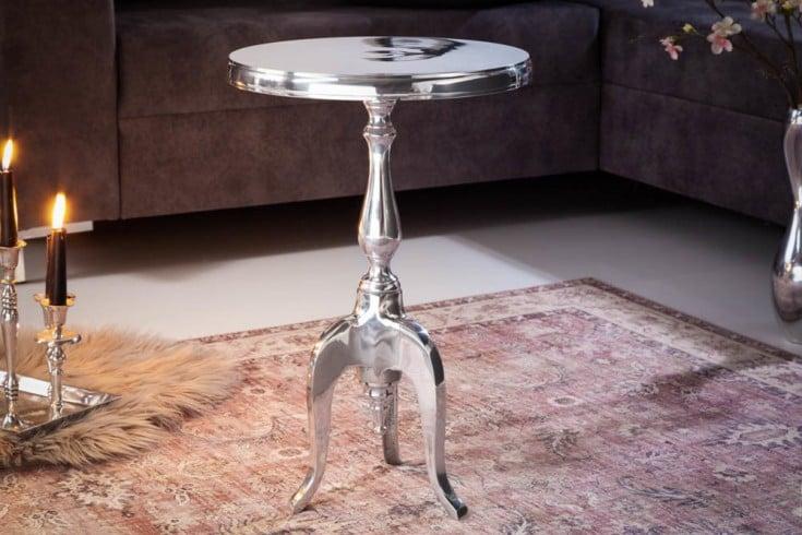 Eleganter Beistelltisch SAVOY 55cm silber poliert Dreibein mit runder Platte